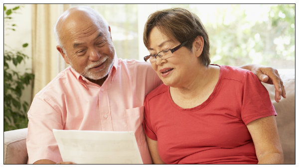 An older couple discussing their wills