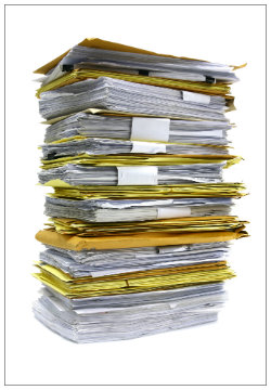 A large stack of files from the probate process